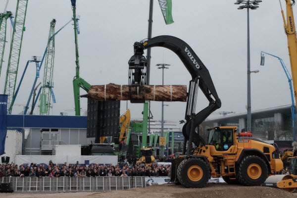 Mascus at Bauma 2019. Crowds gather at Bauma for the Volvo show