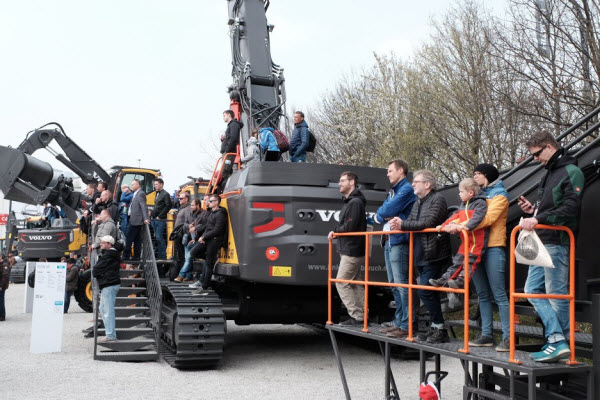 Mascus at Bauma 2019. Bauma visitors watching the Volvo show
