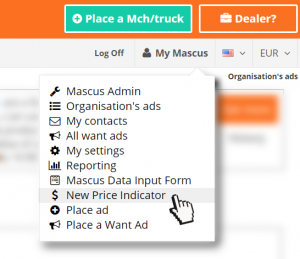 Image showing the new Price Indicator tool in the My Mascus menu