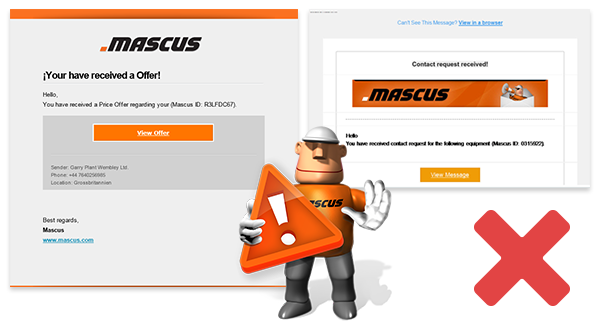 Examples of fraudulent emails containing hidden links to a fake Mascus site