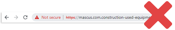 Fake url, not HTTPS encrypted and marked as 'Not secure' by the browser
