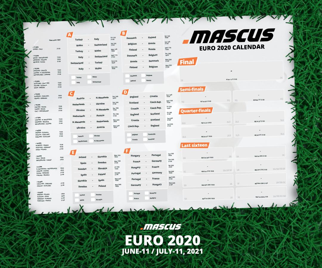 Mascus calendar for UEFA EURO 2020 tournament