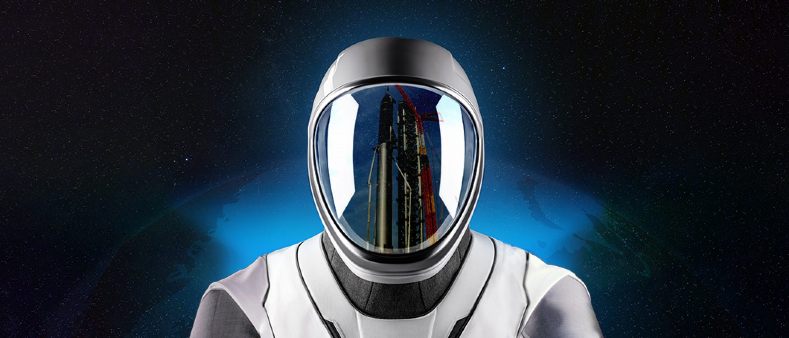 Starship and crane reflection in the SpaceX helmet visor